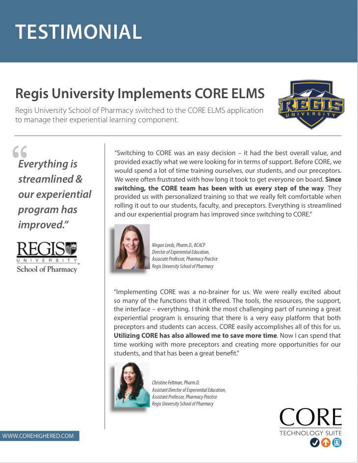 Client Testimonial - Regis University School of Pharmacy