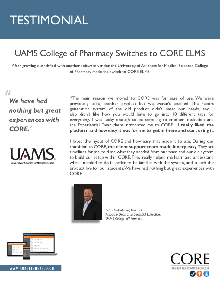 Client Testimonial - UAMS College of Pharmacy