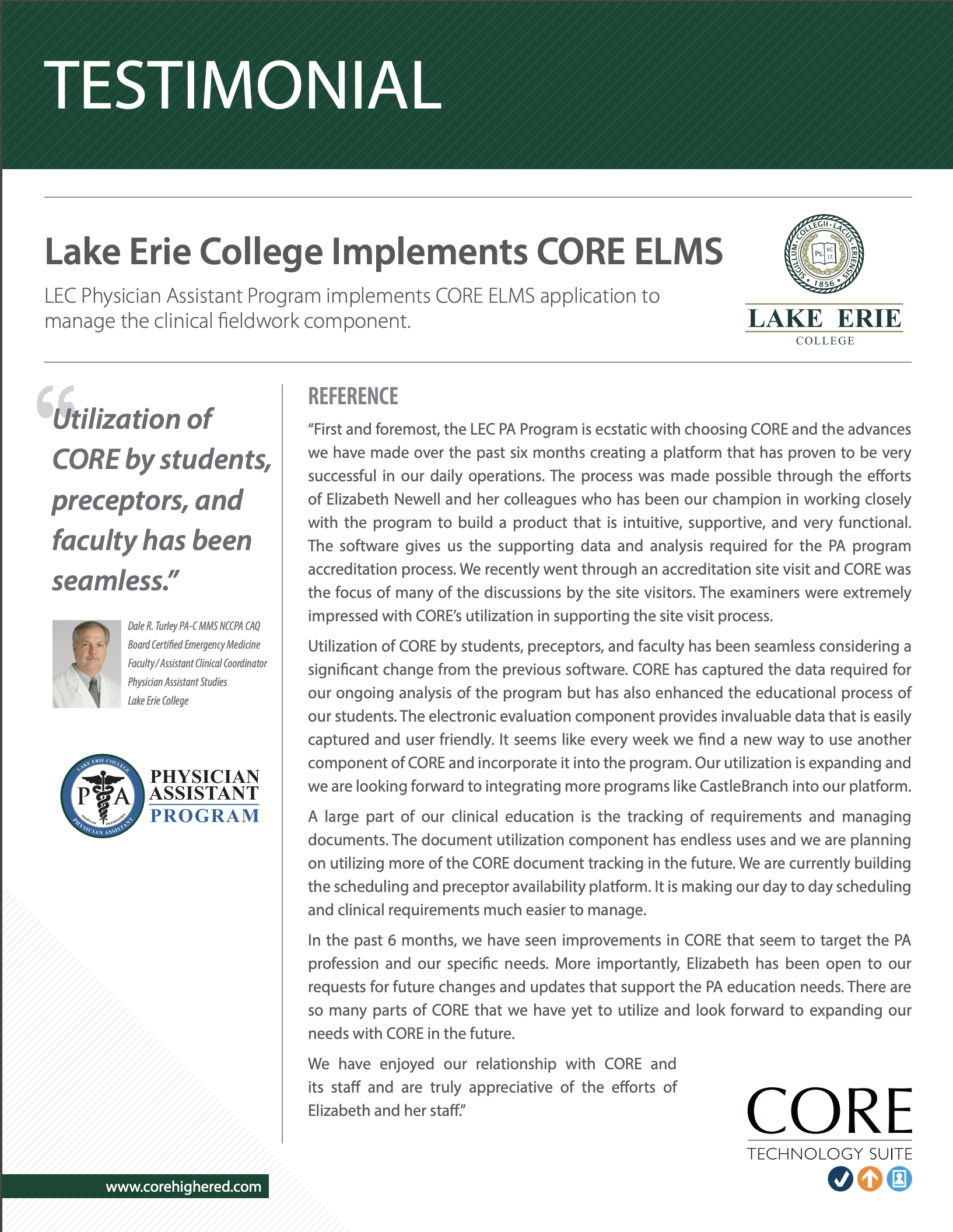 Client Testimonial - Lake Erie College Physician Assistant Program