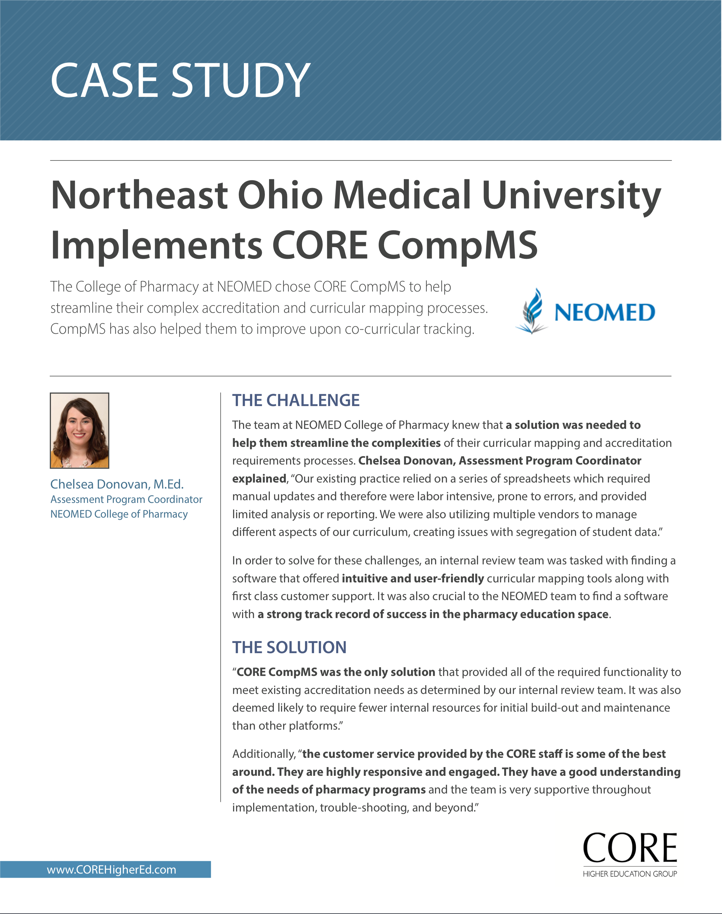 Implementation of CORE at NEOMED College of Pharmacy